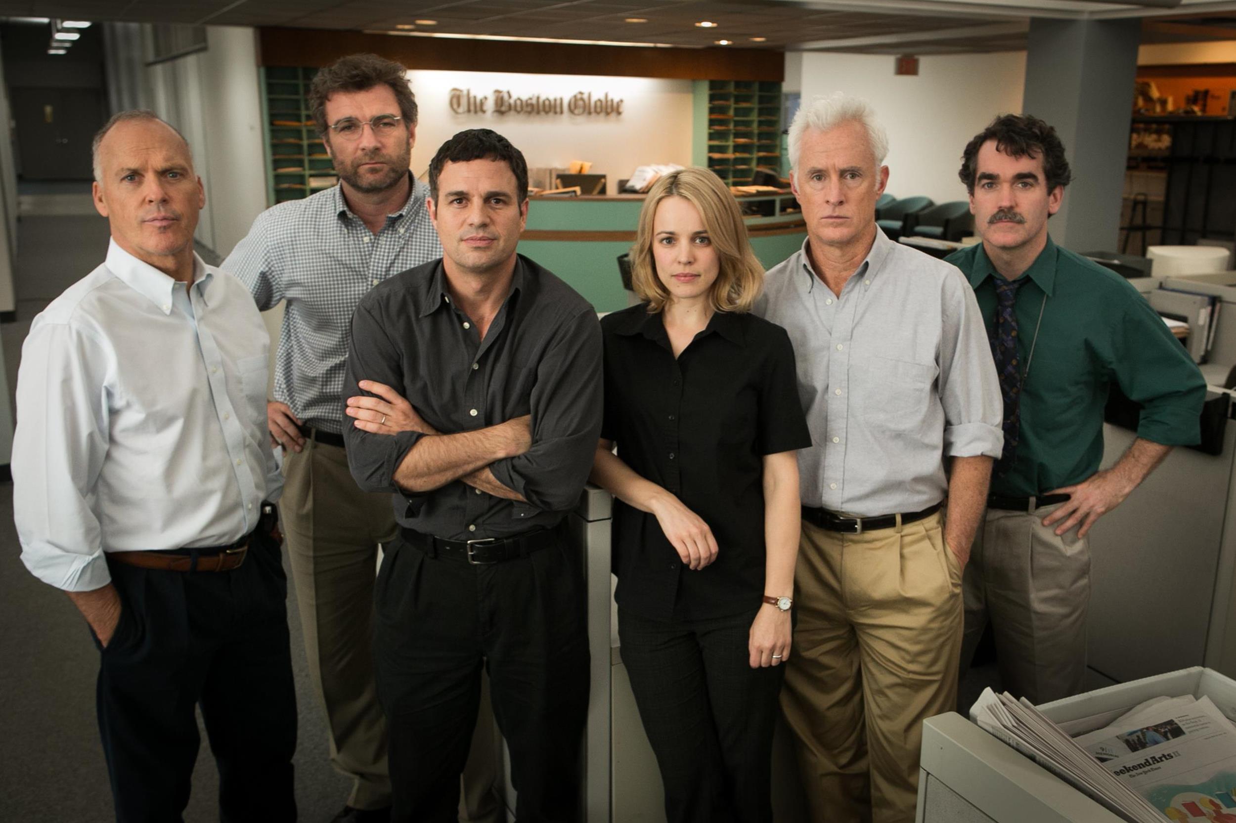(l to r) Liev Schreiber, Mark Ruffalo, Rachel McAdam, John Slattery, Brian D'Arcy James (courtesy of Open Road)