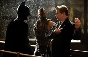 Christopher Nolan directs Batman (Christian Bale) and Bane (Tom Hardy)
