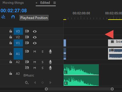 Clip Moved back up timeline 20 frames