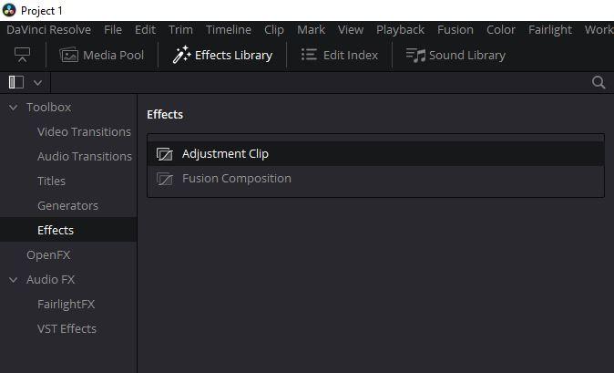 DaVinci Resolve 16 - Adjustment Clip Effect