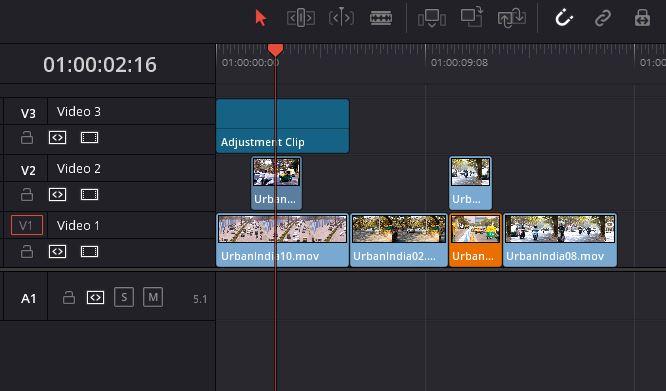DaVinci Resolve 16 - Adjustment Clip in Timeline