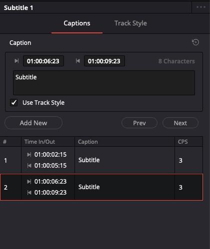 DaVinci Resolve 16 - Create Subtitle/Inspector